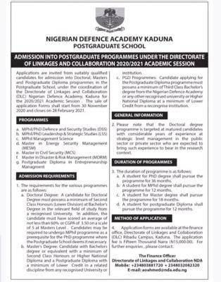 NDA Postgraduate admission under directorate of linkage and collaboration, 2020/2021 session