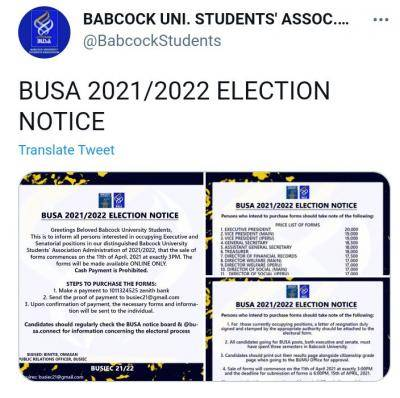 BUSA notice on 2021/2022 SUG elections