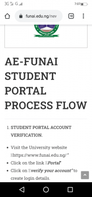 FUNAI procedure for students' account verification and payment of fees, 2020/2021 session