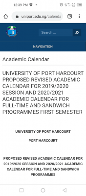 UNIPORT revised academic calendar for 2019/2020 and 2020/2021 sessions