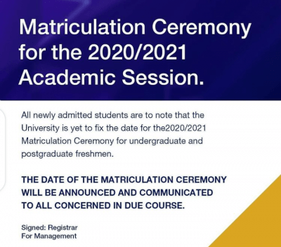 BIU notice on matriculation ceremony for 2020/2021 session