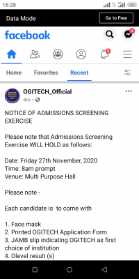 OGITECH notice on admission screening for 2020/2021 session
