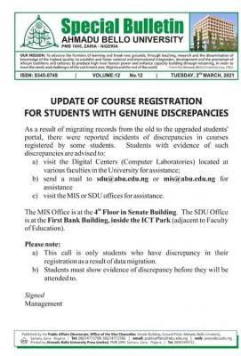 ABU notice to students with discrepancies in the course registration
