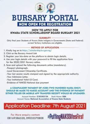 Kwara State Bursary award for final year students
