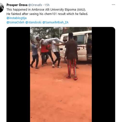 AAU student faints after seeing his chemistry result (video)