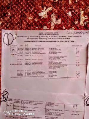 Auchi Poly School of Evening Studies 2nd semester exam timetable, 2019/2020