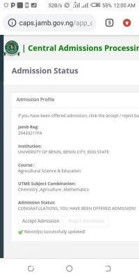 UNIBEN admission list out on JAMB CAPS, 2020/2021 session
