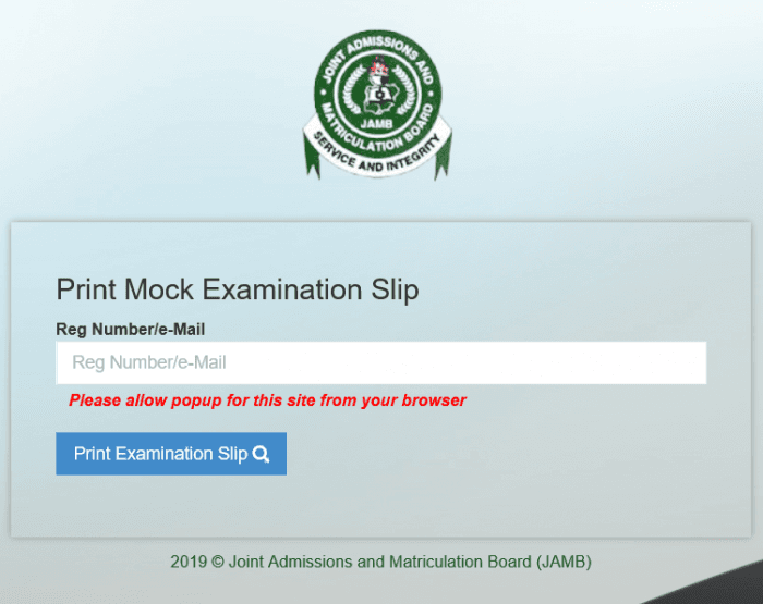 JAMB 2019 Mock Exam Slip Printing - Activated