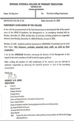 Michael Otedola College of Primary Education notice on closure