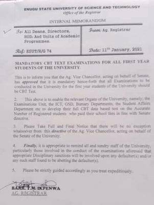 ESUT notice on mandatory CBT exam for first year students