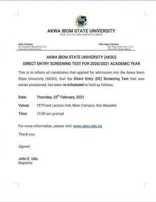 AKSU new date for direct entry screening exercise, 2020/2021