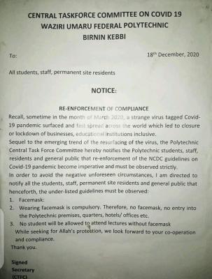 Waziri Umaru Federal Polytechnic notice on re-enforcement of COVID-19 compliance