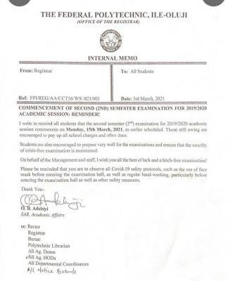 Fed Poly Ile-Oluji notice on commencement of 2nd semester exams, 2019/2020