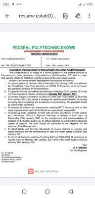 Fed Poly, Ekowe resumption for 2nd Semester 2019/2020 academic session