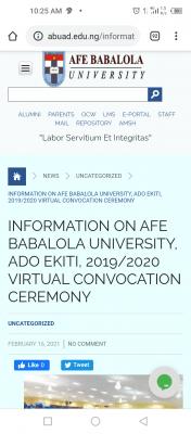 ABUAD notice on virtual convocation ceremony, 2019/2020