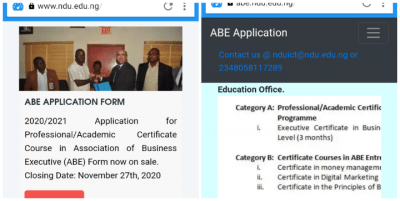 NDU Admissions into the Association of Business Executive for the 2019/2020 Academic Session