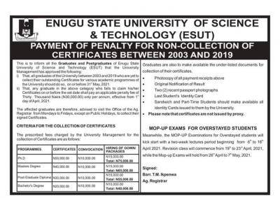 ESUT notice on mop-up exams for overstayed students