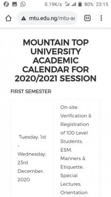 Mountain Top University academic calendar for 2020/2021 session