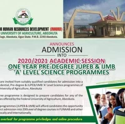 FUNAAB Pre-degree, JUPEB and IJMB admission forms for 2020/2021 session