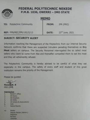 Fed Poly, Nekede notice to students on security