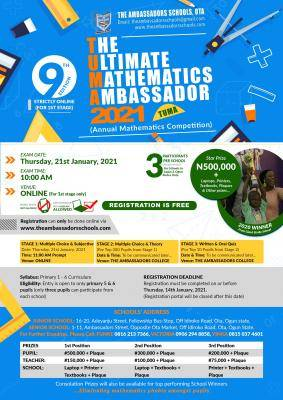The Ultimate Mathematics Ambassador 2021 (TUMA) 9th Annual Competition announced
