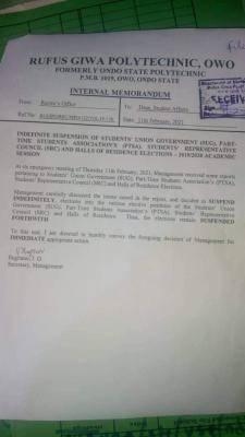 RUGIPO management suspends SUG elections until further notice