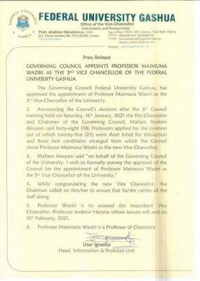 FUGASHUA appoints Professor Maimuna Waziri as the 3rd Vice-Chancellor of the University.