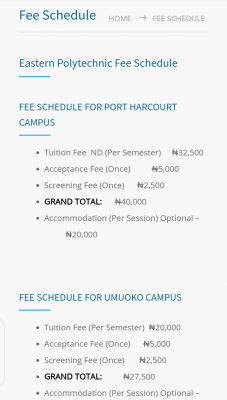 Eastern Polytechnic fees for new students