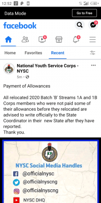NYSC notice on payment of allowances to relocated corps members
