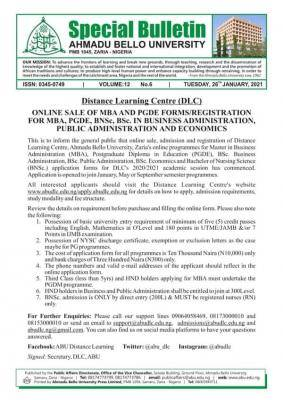ABU MBA & PGDE, BNSc and BSc admission forms in Bus. Admin., Pub. Admin and Econs, 2020/2021 session