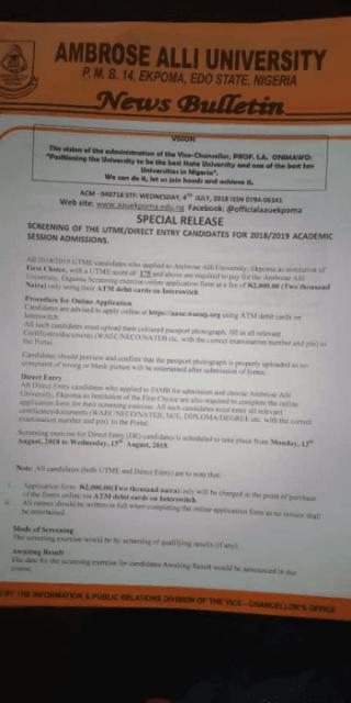AAU Post-UTME/DE 2018: Cut-off Mark, Eligibility And Registration Details