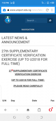 UNIPORT notice on 27th supplementary certificate verification exercise