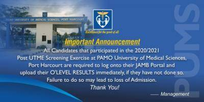 Pamo University of Medical Sciences notice on upload of results to 2020 candidates