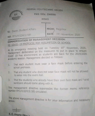 Fed Poly Nekede COVID-19 protocol for school resumption