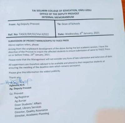 TASUED notice to students on submission of Project Manuscripts to TASCE press
