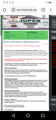 FUOYE extends JUPEB application deadline for 2020/2021 session