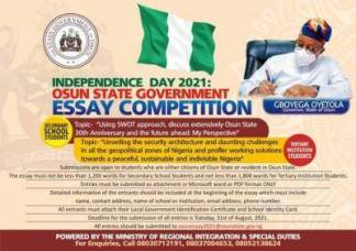 Osun State Independence Day essay competition for students in the state