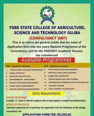 Yobe State College of Agriculture diploma programme application, 2020/2021
