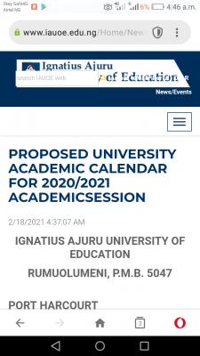 Ignatius Ajuru University of education academic calender for 2020/2021 session