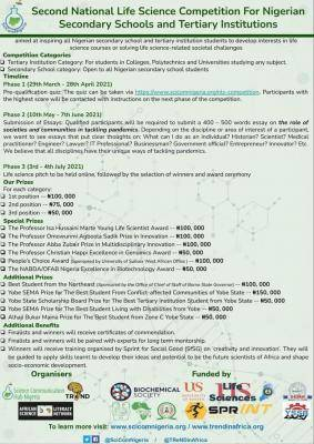 National Life Science Competition For Nigerian Secondary Schools and Universities (2nd edition)