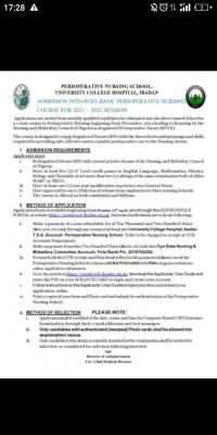 UCH Post-Basic Perioperative Nursing admission form, 2021/2022