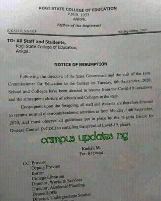 Kogi State College of Education Announces Resumption Date