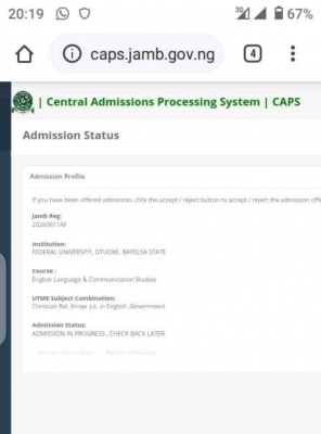 FUOTUOKE admission list, 2020/2021 available on JAMB CAPS