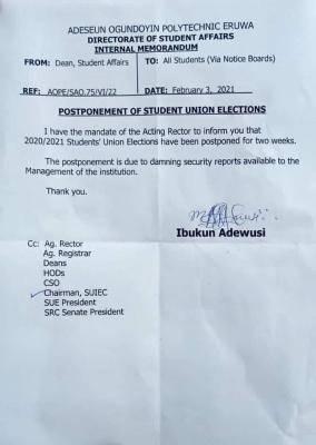 Adeseun Ogundoyin Poly postpones SUG elections