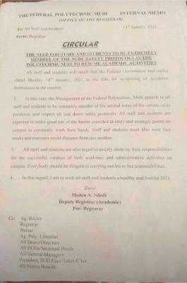 Fed Poly Mubi notice to staff and students on COVID-19 safety protocols