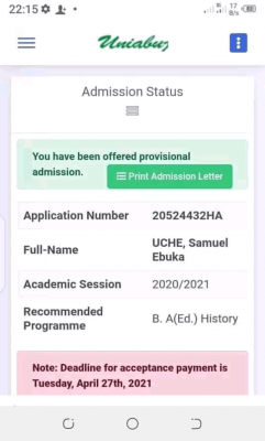 UNIABUJA deadline for payment of acceptance fees, 2020/2021 session