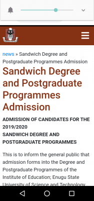 ESUT Sandwich Degree and Postgraduate Programmes Admission, 2019/2020 session