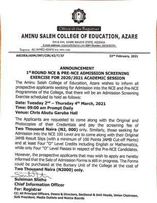 Aminu Saleh COE 1st round NCE and Pre-NCE admission screening, 2020/2201 session