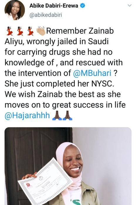 Lady Wrongly Jailed in Saudi Arabia for Carrying Drugs Completes her NYSC