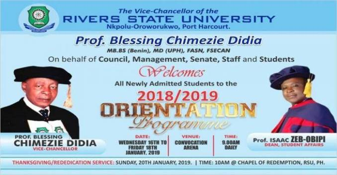 RSUST Orientation Exercise For Newly Admitted Students, 2018/2019